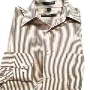 Geoffrey Beene Fitted Striped Casual Button Down